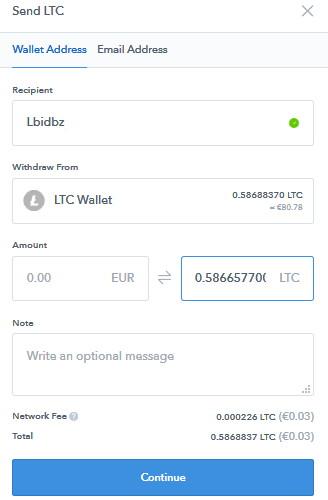 Coinbase převod LTC na peněženku