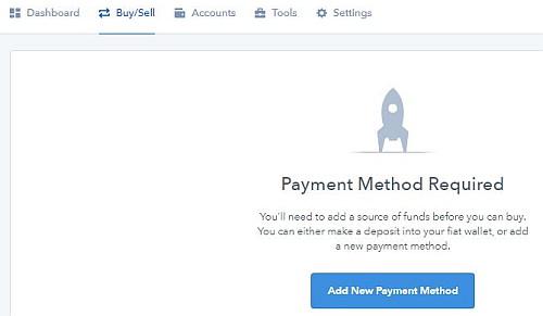 Coinbase přidání platební metody