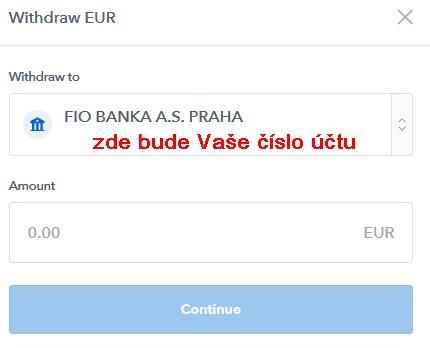 Coinbase zadání částky výběru na bankovní účet