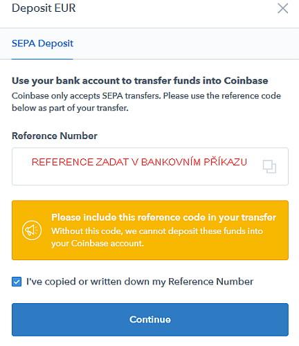Coinbase vklad
