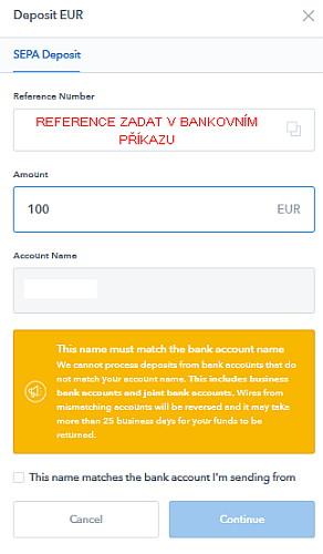 Coinbase zadání částky vkladu