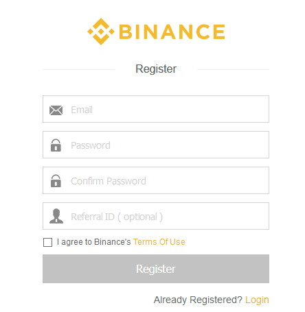 Binance registrační formulář