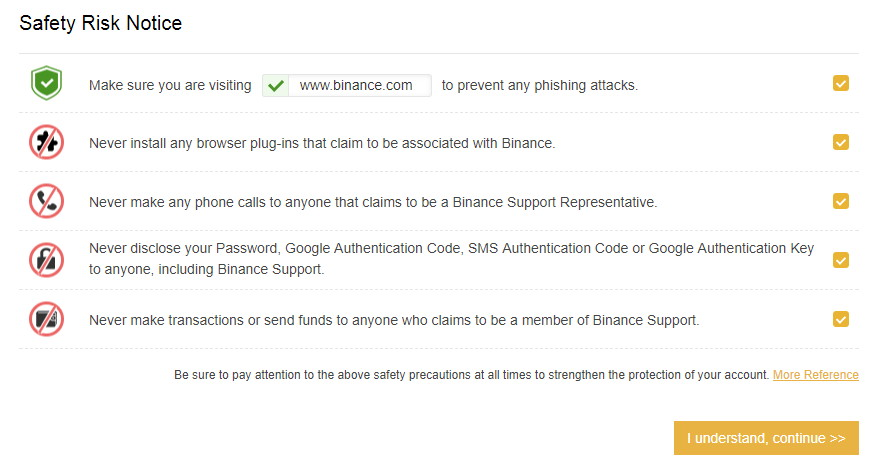 Binance safety risk