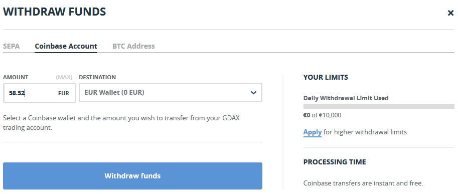 Gdax výběr na Coinbase