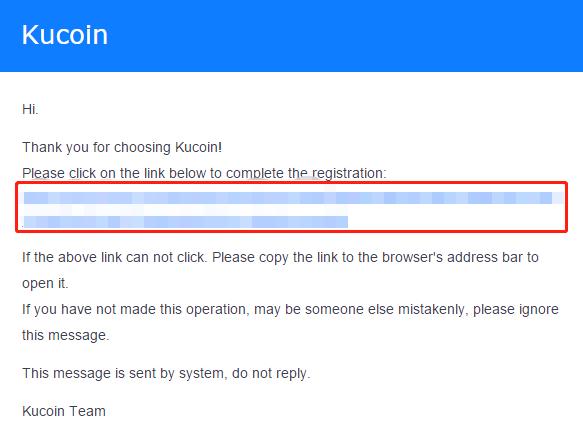 Kucoin aktivační email