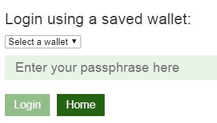 Neon wallet přihlášení do peněženky zadání hesla