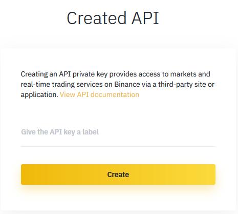 Binance API Create