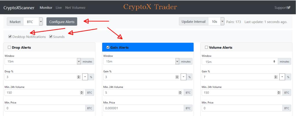 Cryptoxscanner nastaveni